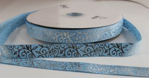Лента репсовая с рисунком, ширина 22 мм, длина 10 метров цвет: светло-голубой, Арт. ЛР5370-4
