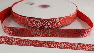 Лента репсовая с рисунком, ширина 22 мм, длина 10 метров цвет: красный, Арт. ЛР5370-8