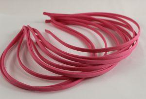 `Ободок металл обтянутый тканью 5 мм, цвет: ярко-розовый