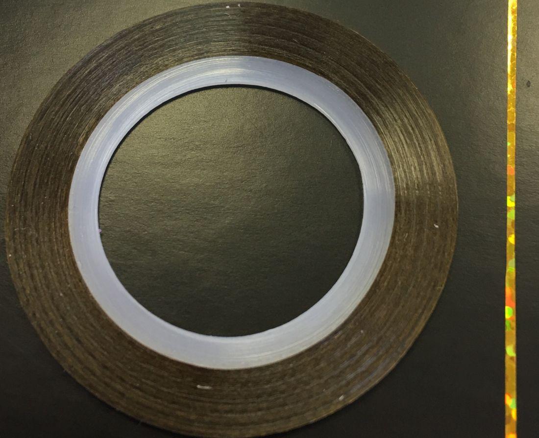 Наклейка-лента для дизайна ногтей в рулоне (0.8мм) голограмма (золото)