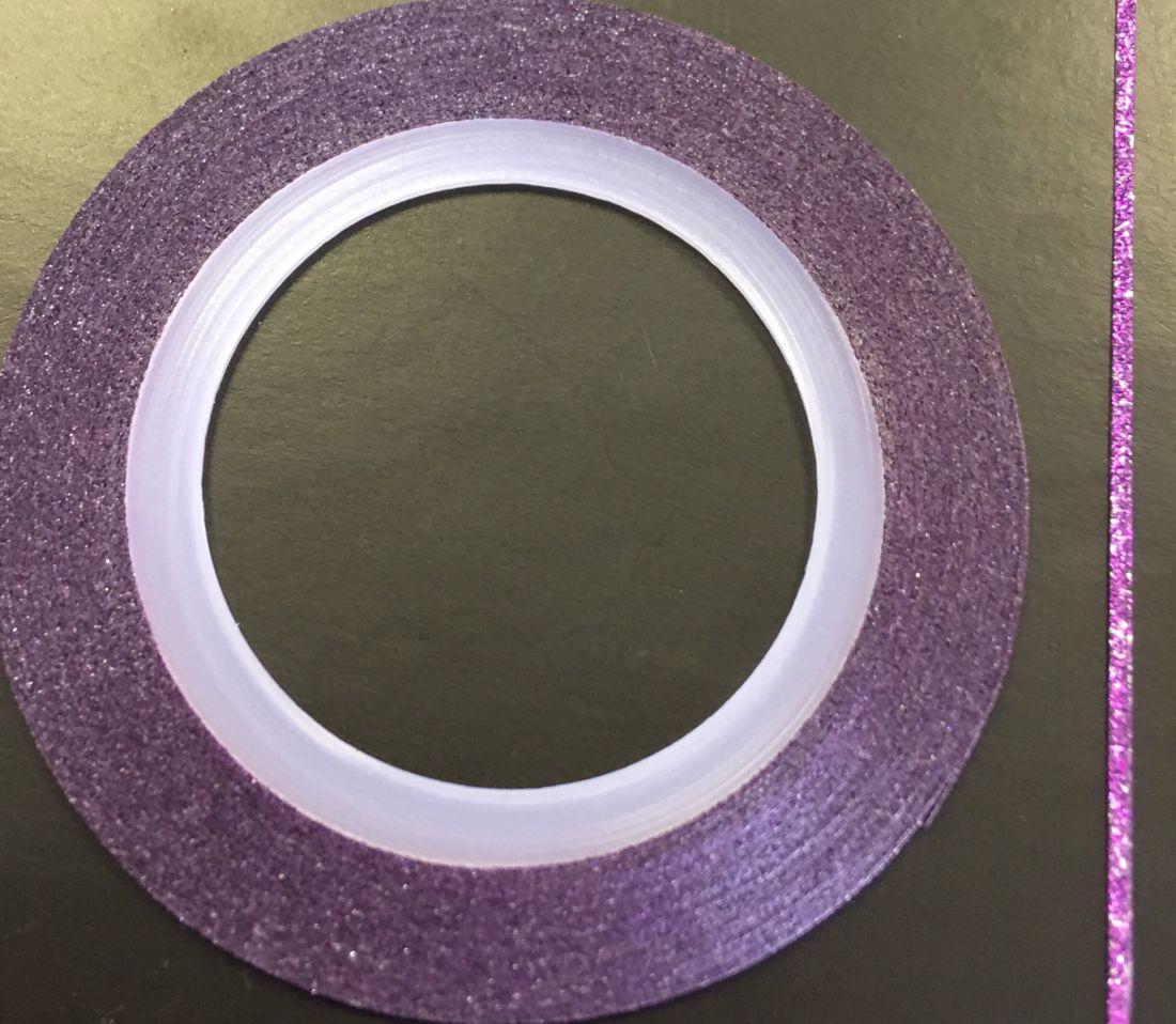 Наклейка-лента для дизайна ногтей в рулоне (0.8мм) мерцание (фиолетовый)