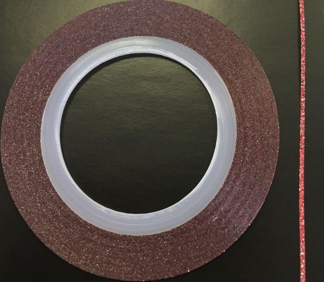 Наклейка-лента для дизайна ногтей в рулоне (0.8мм) мерцание (красный)
