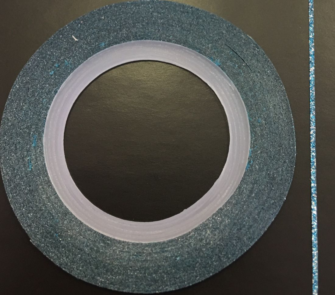 Наклейка-лента для дизайна ногтей в рулоне (0.8мм) мерцание (морской)