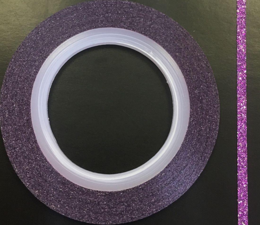 Наклейка-лента для дизайна ногтей в рулоне (2мм) мерцание (фиолетовый)