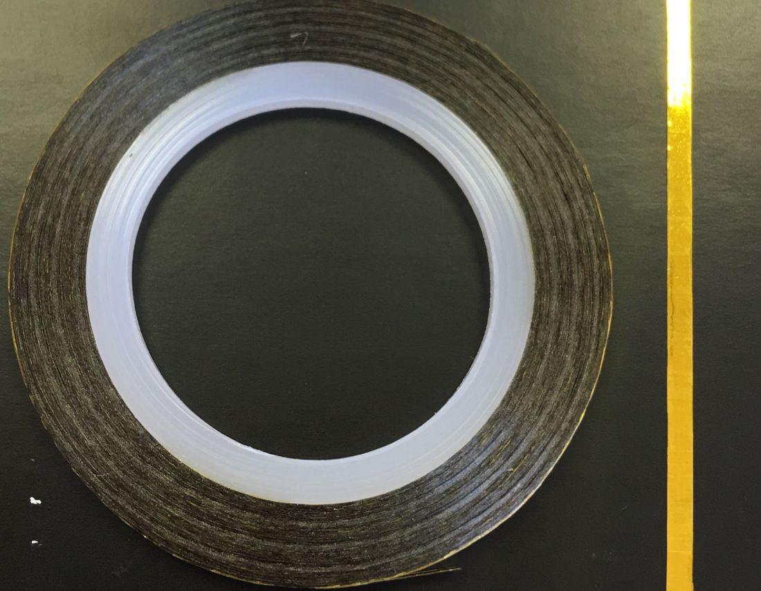 Наклейка-лента для дизайна ногтей в рулоне (2мм) глянец (золото)