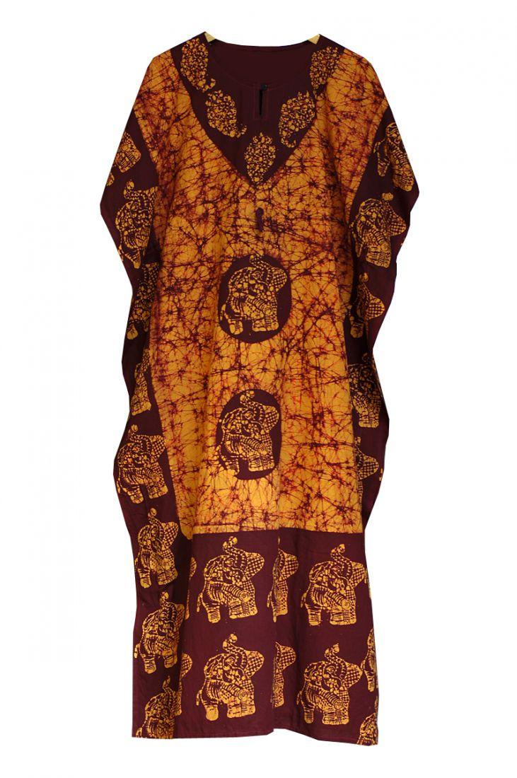 Длинное индийское платье на кулиске, хлопок (отправка из Индии)