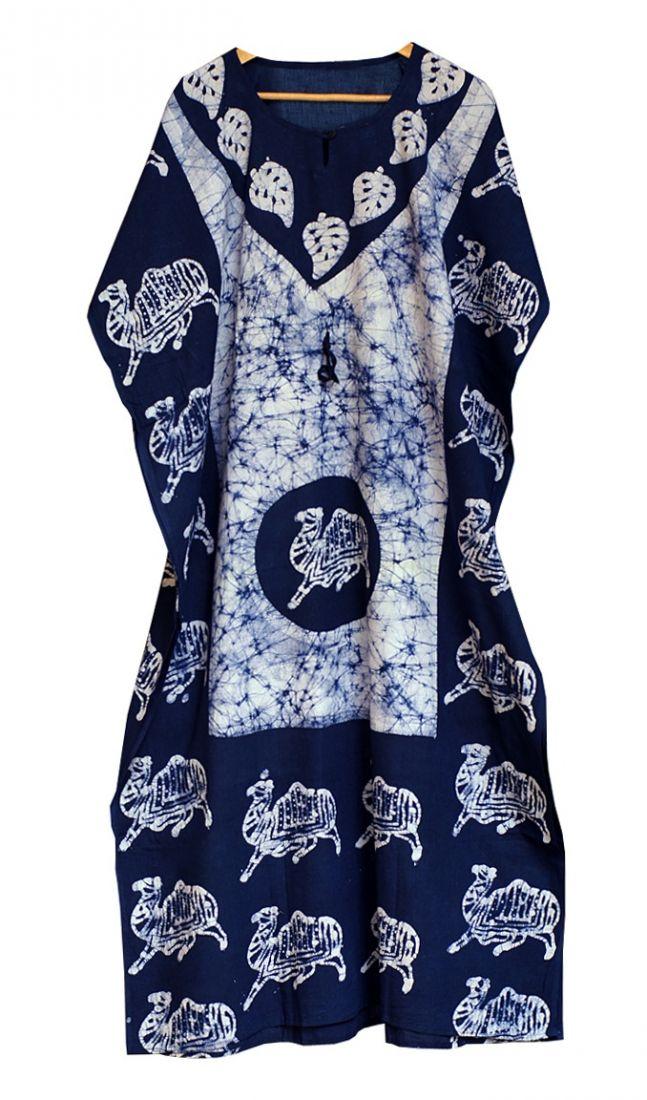 Бело-синее индийское платье свободного размера (Москва)