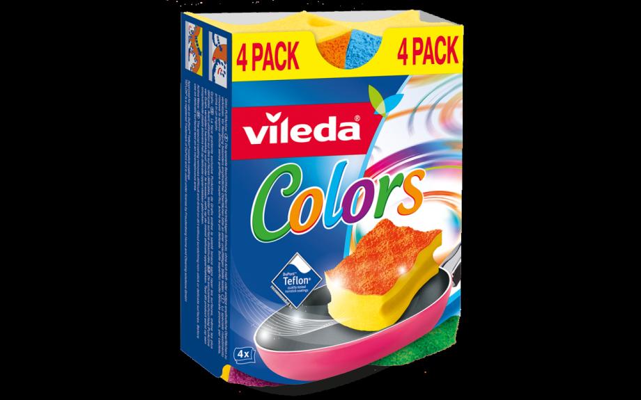 Vileda  губка Pure Colors 4 шт ( высокий поролон)