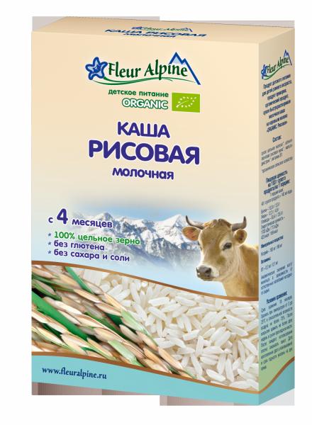 Флёр Альпин - каша молочная Органик рисовая, 4 мес., 200 гр.