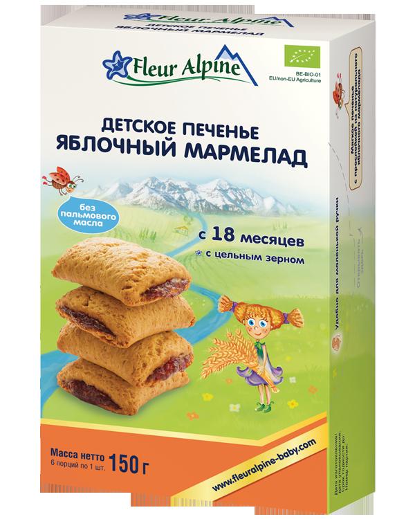 """Флёр Альпин - печенье детское Органик """"Яблочный мармелад"""", 18 мес., 150 гр."""