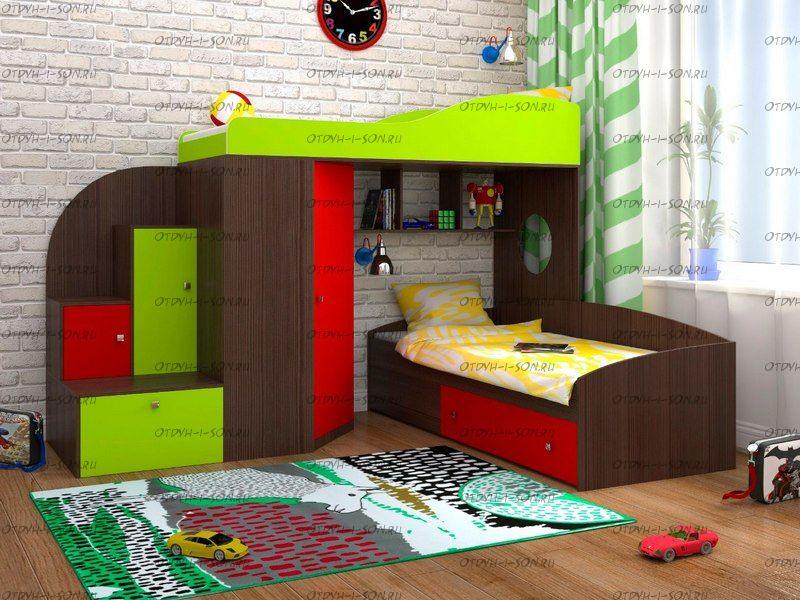 Кровать двухъярусная Каде-2 с лестницей-тумбой