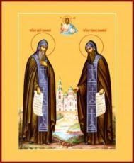 Сергий и Герман Валаамские (рукописная икона)