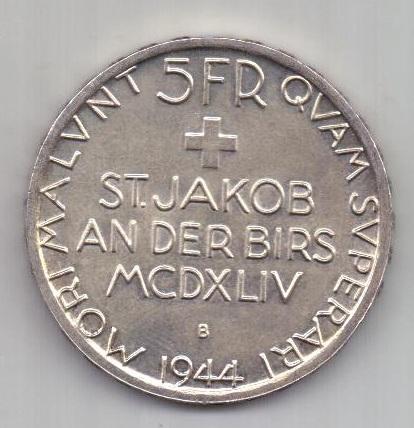 5 франков 1944 г. AUNC. Швейцария