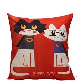 Дизайнерская подушка Котики Бетман и СуперМан