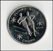 О.Мэн. 1крона 2013г. Олимпиада Сочи-2014. Фигурное катание.Кроновый размер