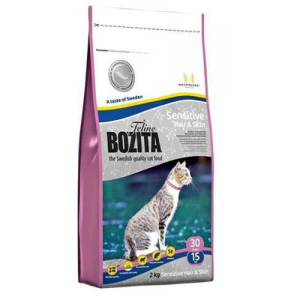 Корм сухой Bozita Feline Sensitive Hair & Skin беззерновой для кошек с лососем 10кг