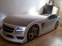 Кровать-машина Ауди А4 UNO с матрасом, 3 цвета на выбор (Мебелев)