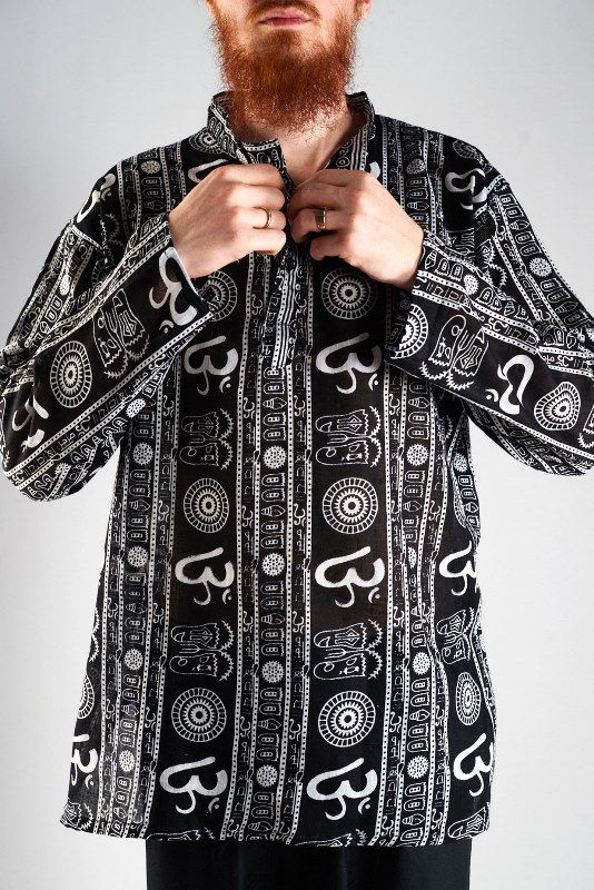 Разные цвета! Мужская рубашка с рисунком символ Ом (Москва)