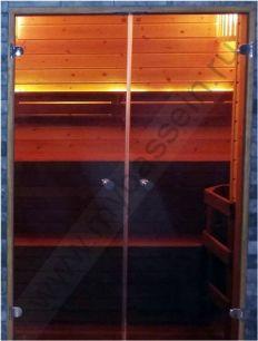 """Дверь двойная осина 1310*2010 (Harvia), стекло """"бронза"""""""