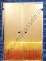 """Дверь двойная ALU 1715*2090 (Harvia) алюминий, стекло """"бронза"""""""