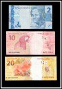 Банкноты Бразилии, 2,10 и 20 реалов.