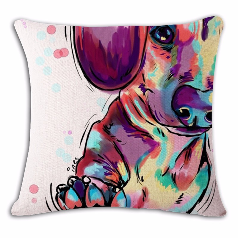 Дизайнерская подушка Милая Разноцветная Такса