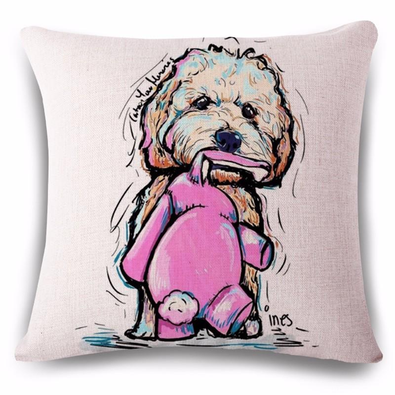 Дизайнерская подушка Карликовый Пудель с любимой игрушкой