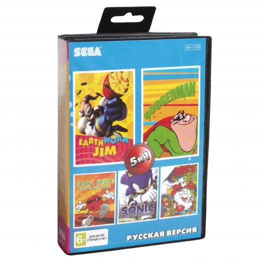 Sega картридж 5в1 (AB-5012) EARTWORM JIM  /BOOGERMAN /COOL SPOT+..