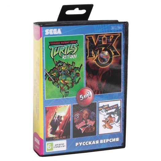 Sega картридж 5в1 (AA-5104) MK 3/TURTLE RETURN/ROCK'N ROLL/TOP GEAR 2+.