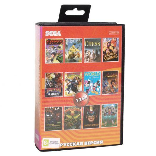 Sega картридж 12в1 (AA-12002) ALADDIN/COMIXE ZONE/DOUBLE DRAGON 3+..