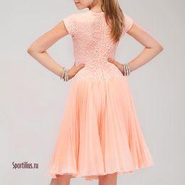 Платье персиковое, (юбка солье)