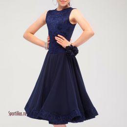 Платье для бальных танцев, темно-синее