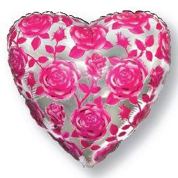 Шар (46 см) Сердце, Розы, Фуше