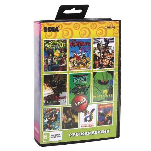 Sega картридж 10в1 (AA-10003) FLINTSTONES /GOLDEN AXE 3 /PRINCE OF +..