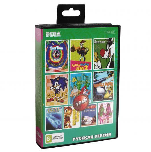 Sega картридж 10в1 (AC-10001) SONIC 3D /EARTWORM JIM 2/ JUNGLE BOOK+..