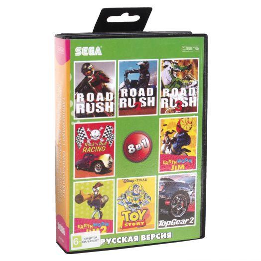 Sega картридж 8в1 (AA-81001) EART. JIM 1,2/ROAD RASH 1,2,3/ROCK+..