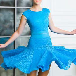Платье для спортивных танцев, бирюзовое