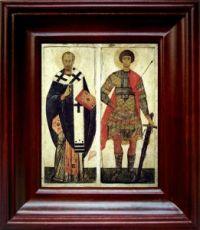 Николай Чудотворец и Георгий Победоносец (21х24), простой киот