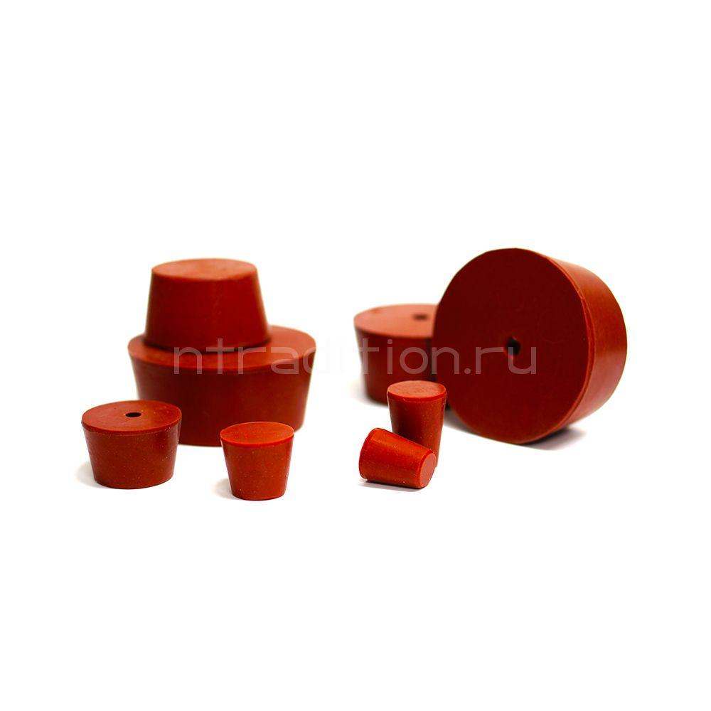Пробка силиконовая для бутылей №8 41*33/25 с каналом