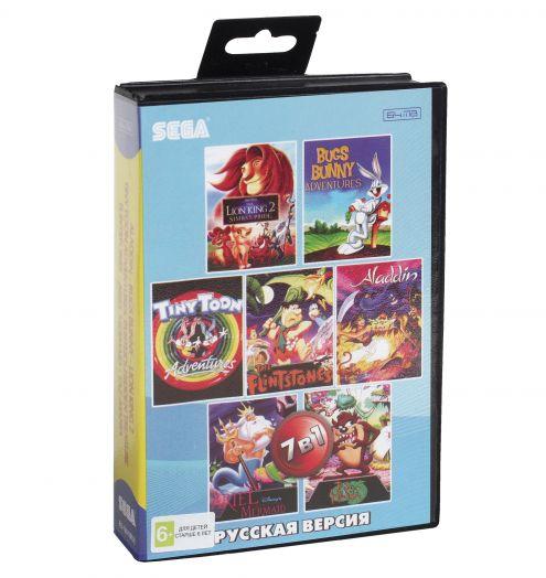 Sega картридж 7в1 (BS-7001) Aladdin  / Bugs Banny   /Lion King 2 / Flintstones +..