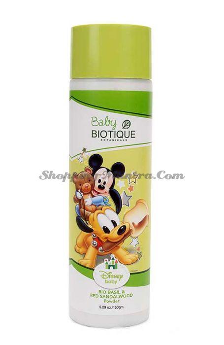 Детская успокаивающая присыпка Микки Маус и Друзья Биотик Базилик&Сандал   Biotique Mickey Mouse & Friends Bio Basil & Red Sandalwood Powder