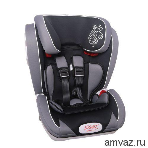 """Детское автомобильное кресло SIGER ART """"Индиго ISOFIX"""" серый лабиринт, 1-12 лет, 9-36 кг, группа 1/2/3"""