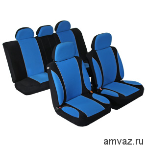 Чехлы унив. AZARD Велюр Sky Jet, 11 пр., карман, 6 молний /синий/