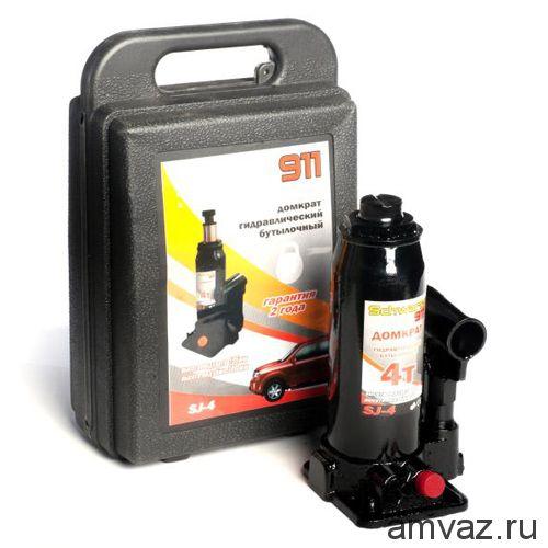 Гидравлический бутылочный домкрат SCHWARTZ-911 4 т (195-380 мм), пластиковый кейс