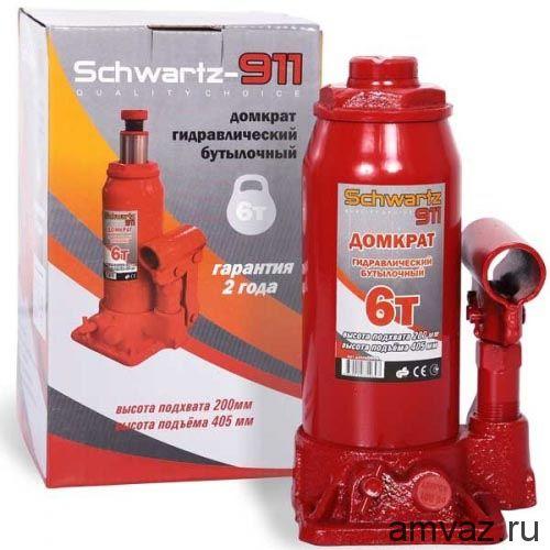Гидравлический бутылочный домкрат SCHWARTZ-911 6 т (200-405 мм), картонная коробка