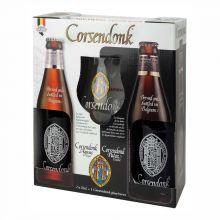 Набор пивной Corsendonk (Agnus Tripel 0.33 + Pater Dubbel 0.33 + бокал) в подарочной упаковке
