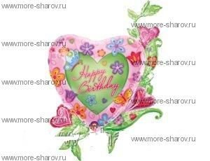 Шар Сердце в цветах 104 см
