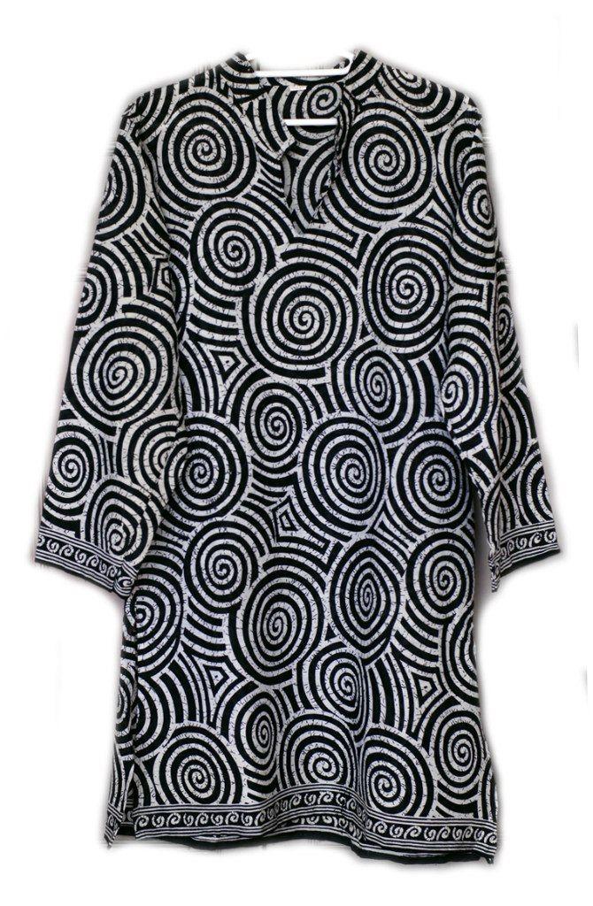 Длинная индийская рубашка (курта) Спиральки
