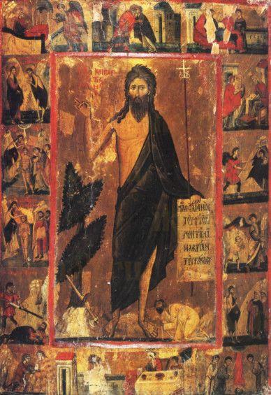 Иоанн Предтеча с житием (копия иконы 13 века)
