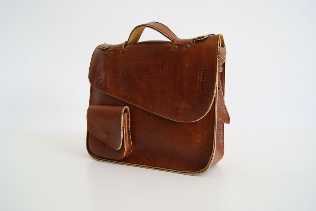 BUFALO LB04 CAMEL рыжий кожаный портфель
